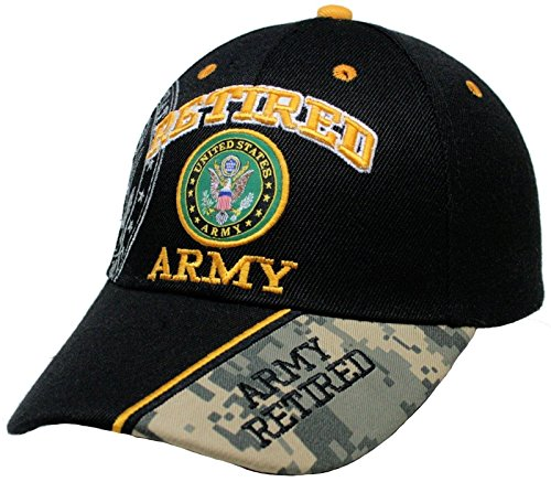 Retired Army Black w/ Seal Embroidered Baseball Cap Hat USA US Military