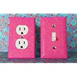 SET OF CHERRY BLOSSOM PINK Glitter Switch Plate Outlet Covers ALL Styles Available!