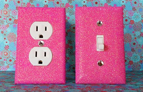 SET OF CHERRY BLOSSOM PINK Glitter Switch Plate Outlet Covers ALL Styles Available! (Decor Batroom)