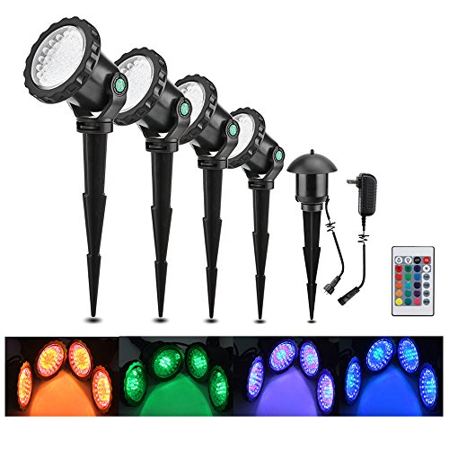 Lemonbest Set of 4 LED Multi-color Spotlight Garden Decorative Landscape Outdoor Pond Yard Lawn Light Submersible Lamp Remote control w/Spike Stand ()