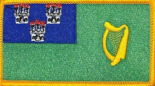 Dublin Ireland Flag Patch with Hook & Loop Travel Patriotic MC Biker Morale Irish Emblem #05 (Gold Border)