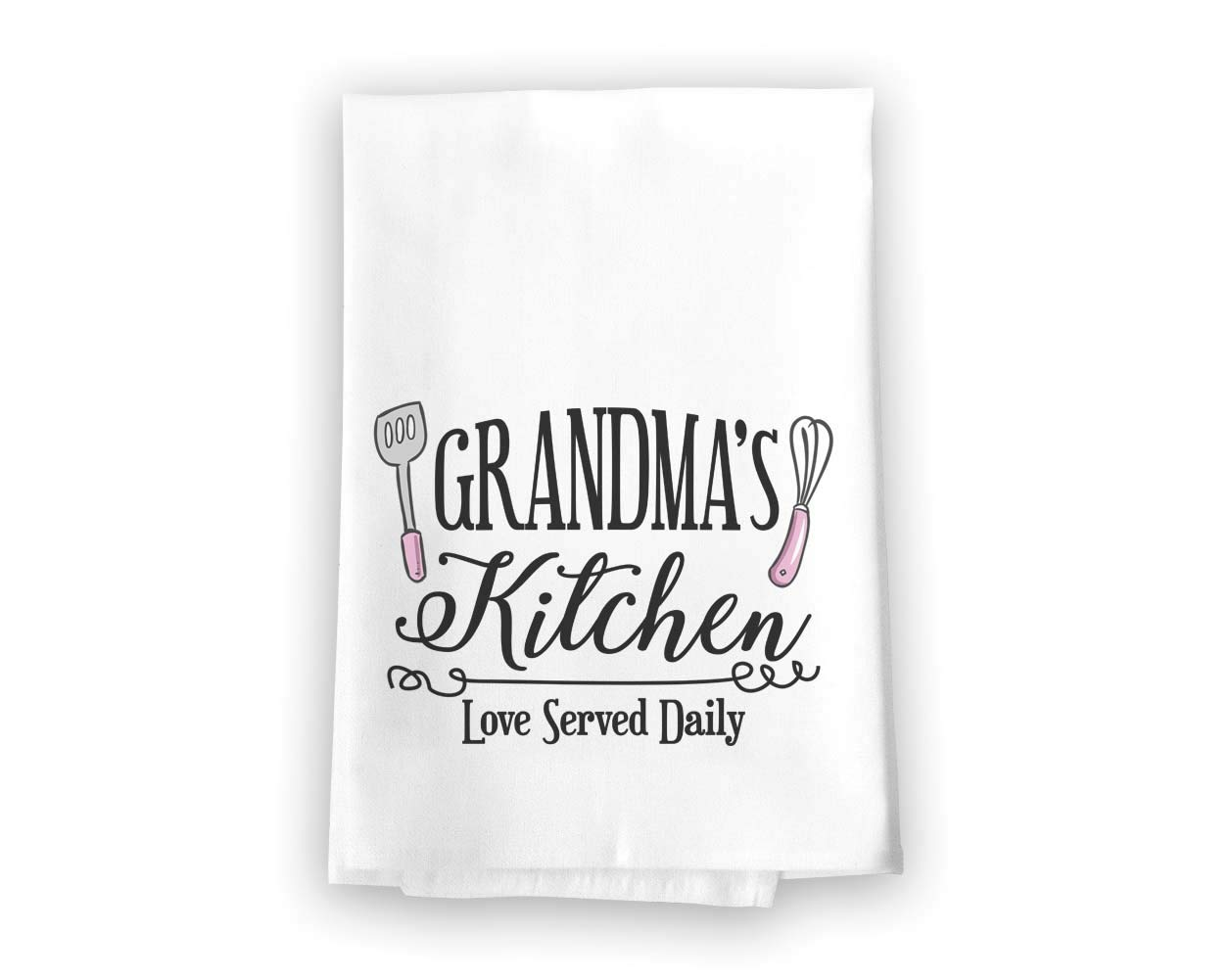Honey Dew Gifts Grandma's Kitchen Love Served Daily Flour Sack Towel, 27 x 27 Inches, 100% Cotton, Highly Absorbent, Multi-Purpose Kitchen Dish Towel