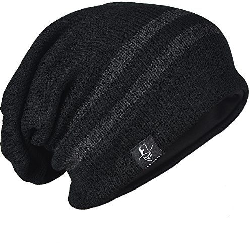 Men Reversible Slouchy Beanie Hat Unisex Skull Hat (B308-Black) (Hat Knit Reversible Winter)