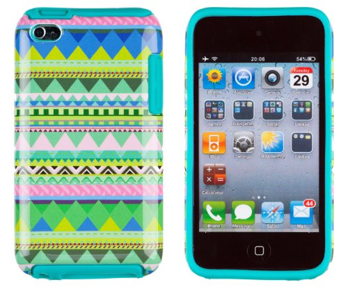 Dandycase 2In1 Hybrid High Impact Hard Mint Green   Pink Aztec Tribal Pattern   Teal Silicone Case Cover For Apple Ipod Touch 4  4Th Generation    Dandycase Screen Cleaner