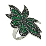 Sterling Silver Enamel Green Leaf Statement Ring Size 8