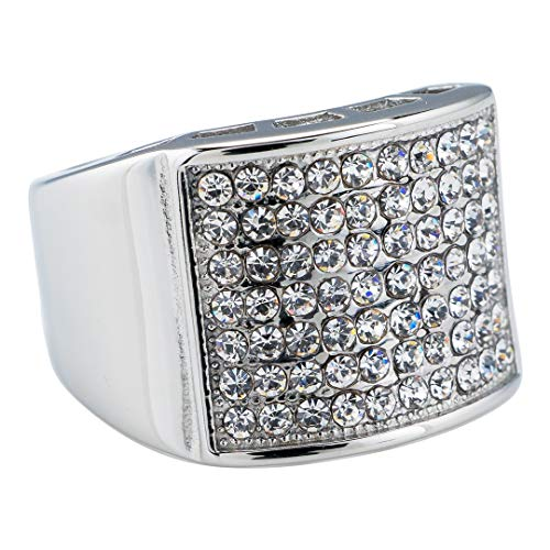 - NIV'S BLING - 14K White Gold-Plated Iced Out Micropave Pinky Ring - Stainless Steel