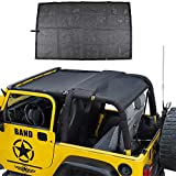 Mesh Shade Bikini Top UV Protection Sunshade Cover Front & Rear Passengers for Jeep Wrangler TJ 1997-2006 (Plain Black)