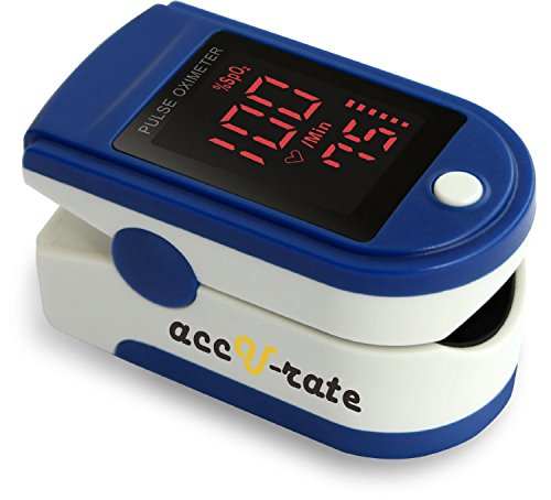 Acc U Rate¨ Pro Series CMS 500DL Fingertip Pulse Oximeter Blood Oxygen Saturation Monitor with silicon cover,