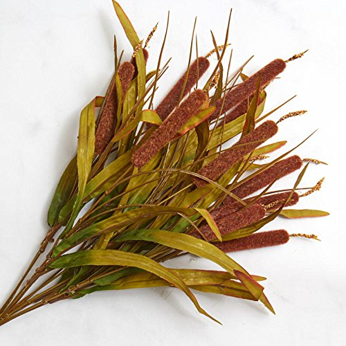 Factory Direct Craft Artificial Cattail Bush with Leafy Accents