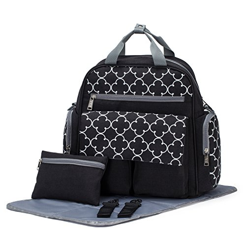 SoHo diaper bag backpack Bedford Ave 4 piece set nappy tote bag for baby mom dad stylish unisex multifunction large capacity waterproof easy to clean includes changing pad stroller straps (4 Piece Diaper)