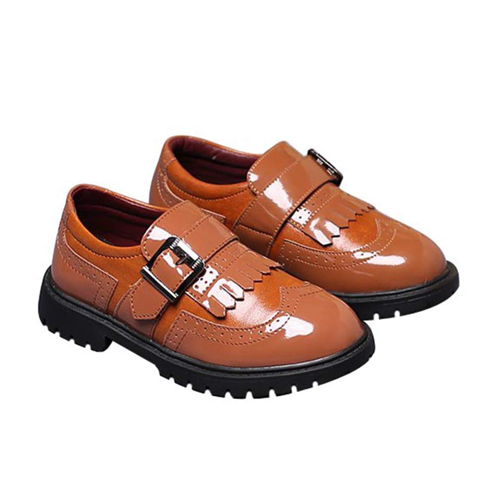 F-OXMY Boys Wing-Tip Tassel Shiny Oxfords Dress Shoes Slip-On Casual Shoes (Toddler/Little Kid/Big Kid) Brown
