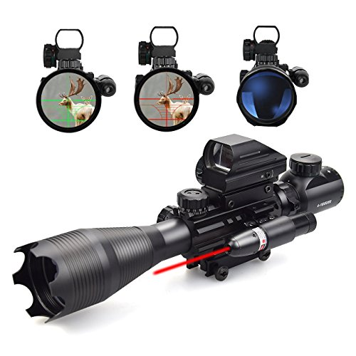 Feyachi 3 in 1 Rifle Combo Scope, 4-16x50EG magnification, Red/Green Dot Reflex Sight plus a pressure switch actuated Red Laser! (Deluxe Red Dot Sights)