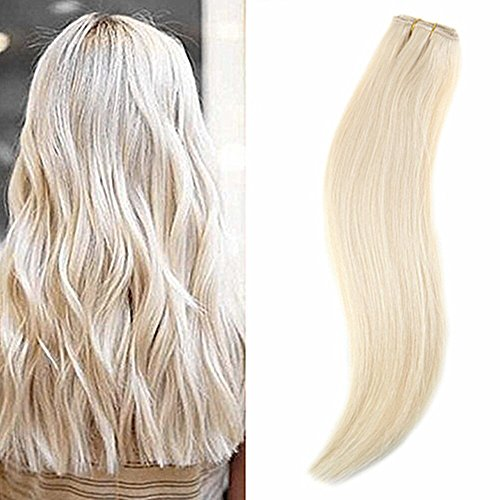 Ugeat 16inch One Piece Clip in Human Hair Extensions #60 Platinum Blonde 100% Natural Hair Extensions With 5 Clips 50Gram (Naturals Platinum)