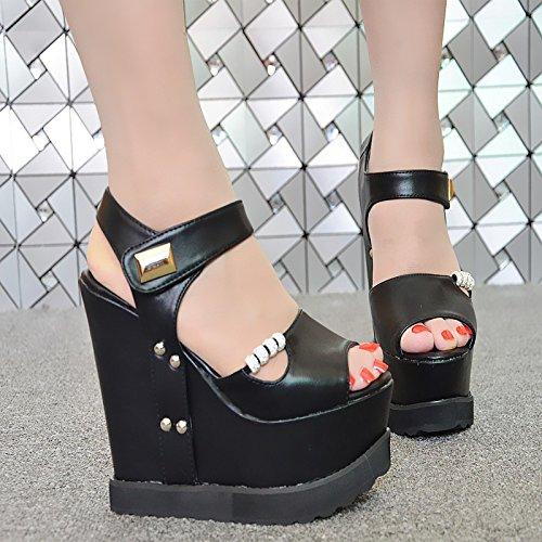 zapatos XiaoGao Roma alto huecas de centímetros nivel femeninos sandalias Black en de 15 con TqqgztnaW