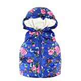 Hatop Toddler Baby Girls Boy Sleeveless Floral Print Hooded Warm Coat Jacket Tops Autumn Outwear Waistcoat Clothes for 2-6 Years (Blue, 6 Years)