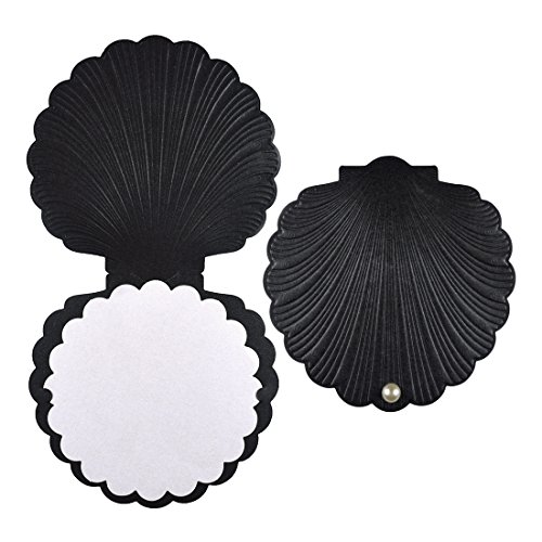 DIY PARK Personalized Sea Shell Pearl Beach Wedding Party Invitation Invite Greeting Card with Envelope Kit(Black, 100 sets) by DIY PARK (Image #1)