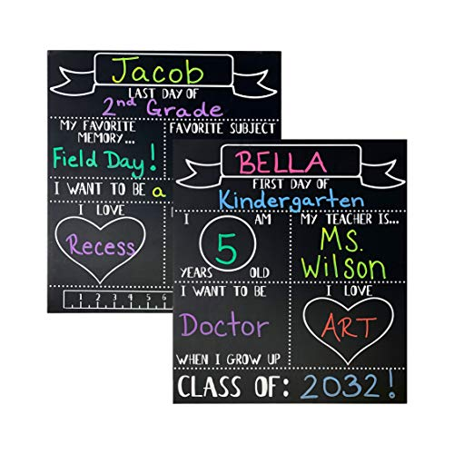 JennyGems - First Day and Last Day of School Sign - 2 Sided 14x16 - Front Side and Back Sides - School Milestone Chalkboard - Large Chalkboard Photo Prop - School Year Signs, First Day of School