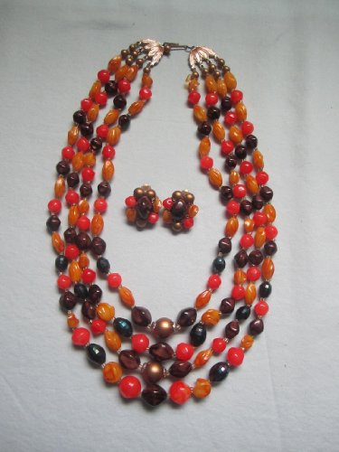 "Vintage Coro Lucite "" Autumn Colored "" Beaded Necklace & Clip-On Earring Set - Signed"