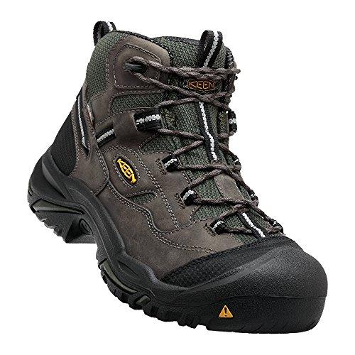 (Keen Utility - Men's Braddock All Leather Mid Waterproof (Steel Toe) Work Boots, Gargoyle/Forest Night, 12)