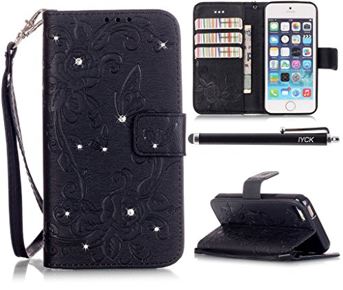 iPhone 5 Wallet Case, iPhone 5S Case, iYCK Premium PU Leather [Emboss Flower] Diamond Rhinestone Magnetic Closure Flip Wallet Case Cover for iPhone 5/5S/SE with Kickstand and Wrist Strap - Black