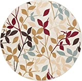 Cheap Danica Transitional Floral Ivory Round Area Rug, 5′ Round