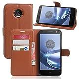 Excelsior Premium Leather Wallet Flip Cover Case For Motorola Moto Z Play (Inner TPU) - Brown