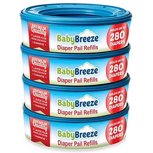 BabyBreeze Diaper Pail Refills Bags for Diaper Genie - 1120 Count (4-Pack)
