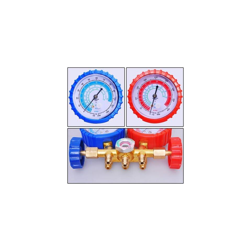 3 Hoses HVAC Refrigerant R134a Manifold Gauge 2 Valves