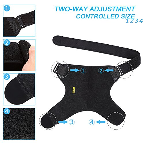 Dislocated Shoulder Brace for Left and Right Size Fits Men and Women, Rotator Cuff Support Adjustable with Mesh Bag for Hot Cold Therapy Shoulder Wrap for Tear Injury AC Joint Dislocated Recovery by wohuu (Image #4)
