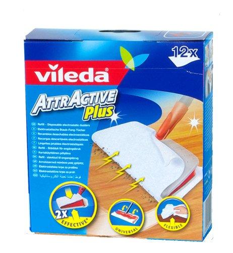 Vileda VIL125741 Attractive Plus Mop Refills (Pack 12) Cleaning Floor Care Kitchen