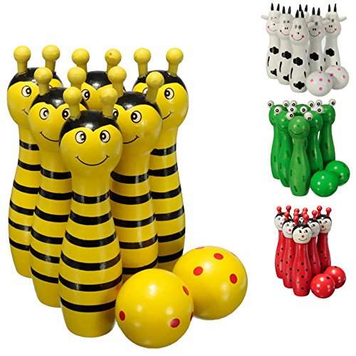 1 Wooden Wood Bowling Ball Skittle Game Animal Shape Kids Children Toys (Skittles Game Board)