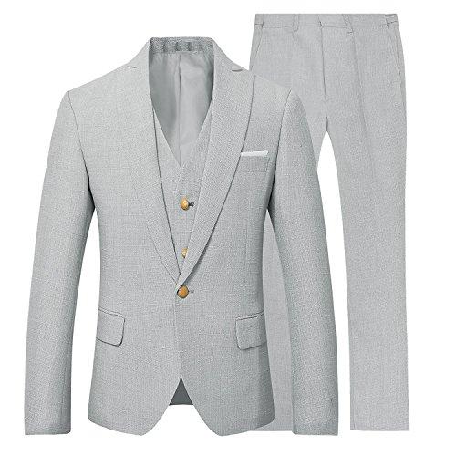 JYDress Men's 3 Piece Slim Fit Suit Set Blazer Jacket Tux Vest Suit Pants