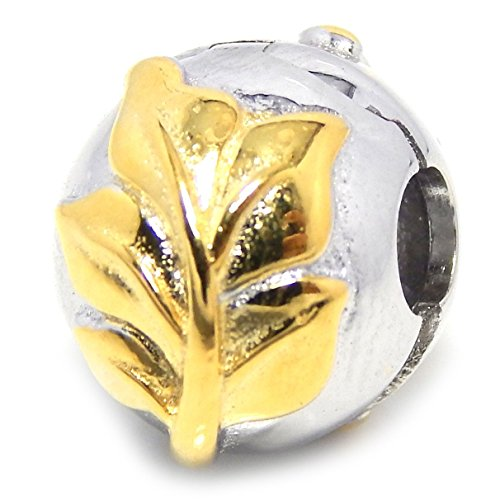 925 Solid Sterling Silver Spacer with Gold Tone Leaves Clip Lock Charm Bead