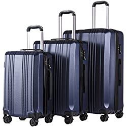 Coolife Luggage Expandable Suitcase 3 Piece Set with TSA Lock with Computer Pocket (navy)