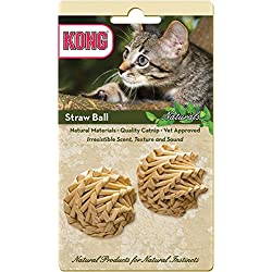 KONG Naturals Straw Ball Catnip Toy, Colors Vary, 2-Pack