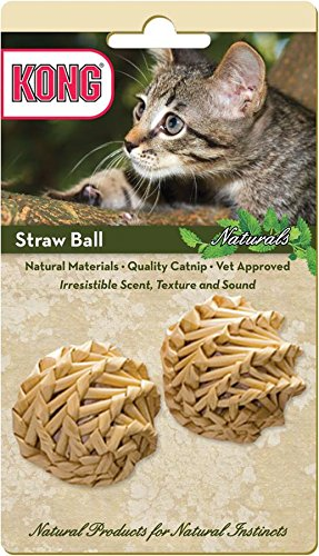 KONG Naturals Straw Ball Catnip Toy, Colors Vary, (Balls 2 Pack Cat Toy)