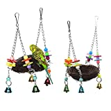 Image of Rypet Natural Rattan Nest Bird Swing Toy with Bells for Parrot Cockatoo Macaw Amazon African Grey Budgie Parakeet Cockatiel Conure Lovebird Finch Cage Toy Small