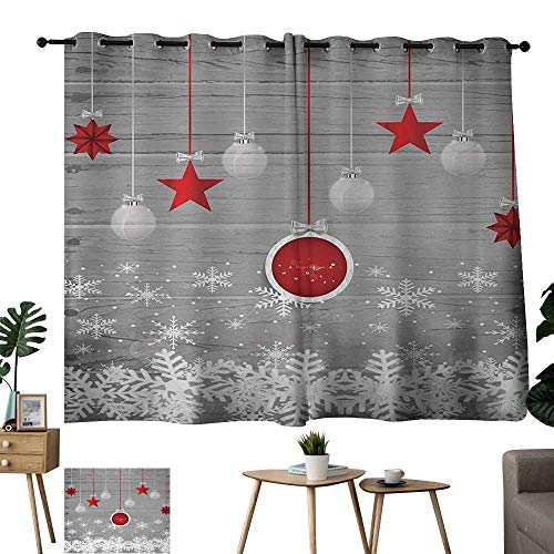Blue Curtains Christmas,Traditional Celebration Theme with Pendant Stars Baubles Ornate Snowflakes,Grey Red White 54