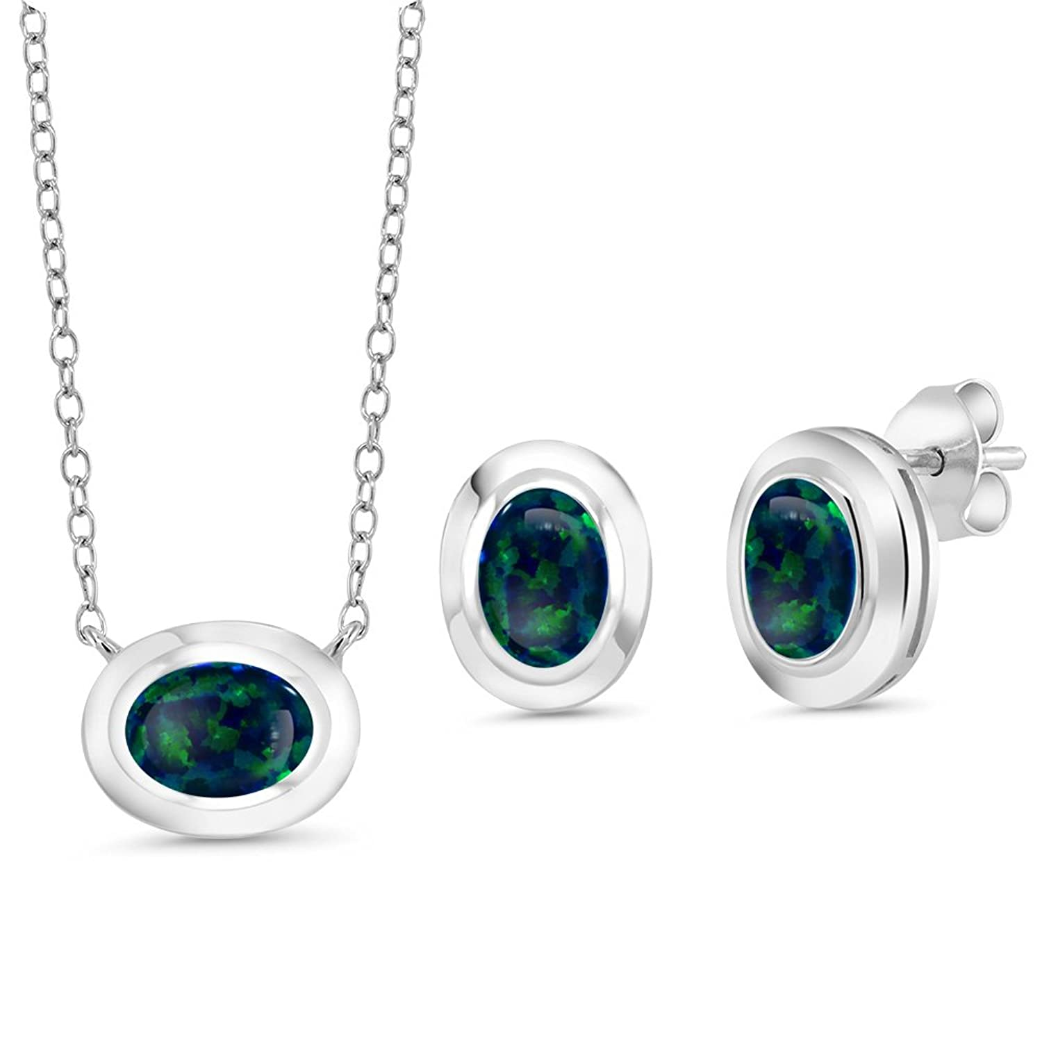 1.89 Ct Oval Cabochon Green Simulated Opal 925 Silver Pendant Earrings Set