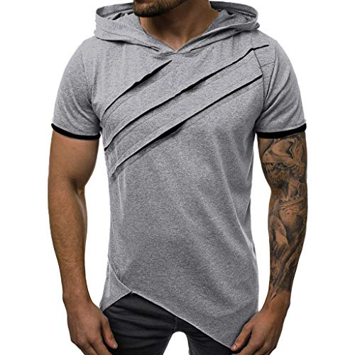 TANGSen_Mens Summer Hooded Top Casual Short Sleeve Top Patchwork Slim Plus Size Fashion Leisure Blouse Gray