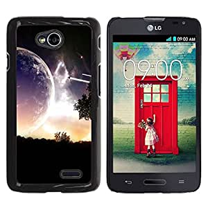 PC/Aluminum Funda Carcasa protectora para LG Optimus L70 / LS620 / D325 / MS323 Alien Planet Parallel Universe Close View Art / JUSTGO PHONE PROTECTOR