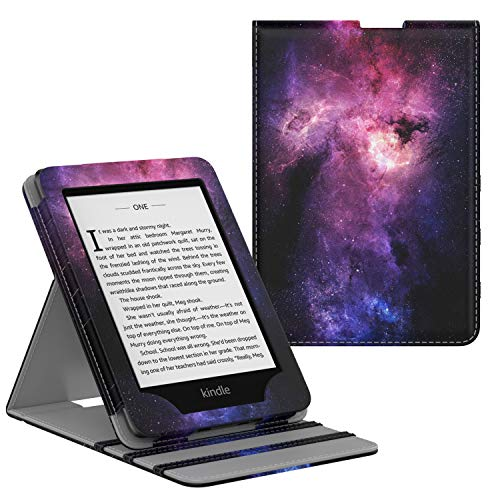 MoKo Case Fits Kindle Paperwhite (10th Generation, 2018 Releases), Premium Vertical Flip Cover with Auto Wake/Sleep Compatible for Amazon Kindle Paperwhite 2018 E-Reader - Dreamy Nebula Purple