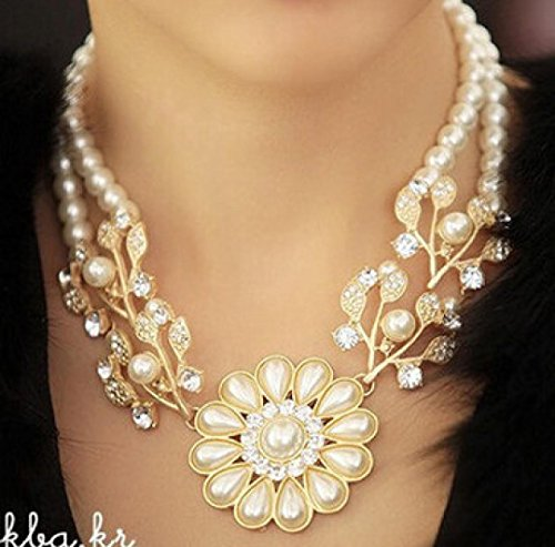 Pearl Bracelet Costumes Jewelry (Tuscom Women Jewelry Crystal Pearl Flower Bib Choker Chunky Statement Collar Necklace)