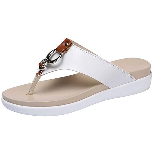 c7331f0f52d wealsex Tongs PU Cuir Compensees 4CM Confort Femme Eté Plage Chausssons  Sandales Mules Flip Flop Grande