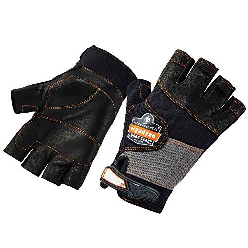 Ergodyne ProFlex 901 Half-Finger Leather Impact Gloves, Large, Black - Half Finger Impact Gloves
