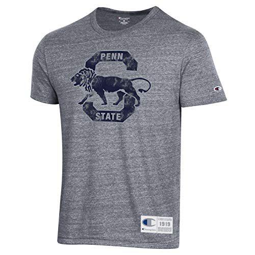 Champion NCAA Men's Vintage Ultimate Triblend T-Shirt with Old School Logo-Penn State Nittany Lions-Heather Grey-Large