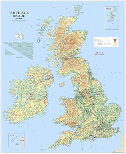 Gran mapa físico de las Islas Británicas en papel laminado de 120 cm x 100 cm: Amazon.es: Oficina y papelería