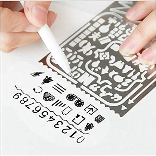 Metal Drawing Templates,JoyTong Digital Stainless Steel Multifunctional Planner Stencils with 60 Apertures