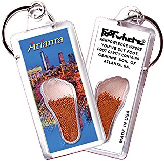 """product image for Atlanta""""FootWhere"""" Keychain (ATL103 - Twilight). Authentic Destination Souvenir acknowledging Where You've Set Foot. Genuine Soil of Featured Location encased Inside Foot Cavity. Made in USA"""