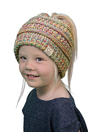 BT2-3847-816.41 Kids Messy Bun Ponytail Hat Girls Beanie Tail - Rainbow 4#11